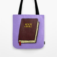 bible Tote Bags featuring Rock & Roll Bible by Josh LaFayette