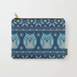 Owls winter knitted pattern Carry-All Pouch