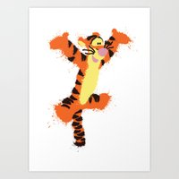 tigger Art Prints featuring Tigger by DanielBergerDesign