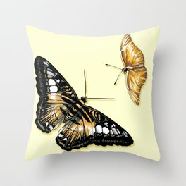 Papillon jaune et noir Throw Pillow
