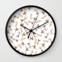 Abstract orange green watercolor modern leaves Wall Clock