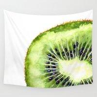 kiwi Wall Tapestries featuring Kiwi Slice by Cindy Lou Bailey