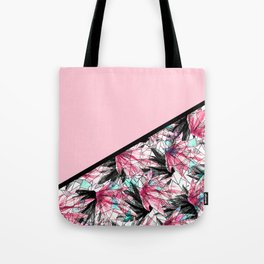 Blush Pink and Teal Abstract Tropical Leaves Tote Bag