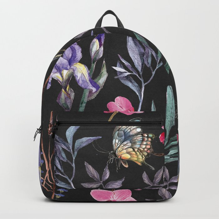 Pattern of plants, flowers and butterflies Backpack
