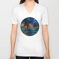 studio ghibli V-neck T-shirts featuring Studio Ghibli: My Neighbour Totoros by Laurence Andrew Page Illustrator