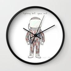 lightning bolt space suit Wall Clock