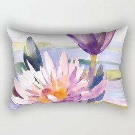 Water Lily,  Lotus, Asian Ink drawing Zen brush pink purple flower Rectangular Pillow