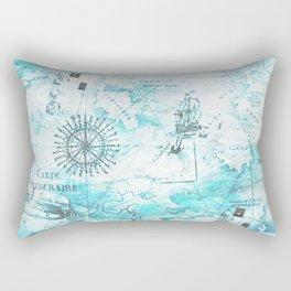 Blue Nautical Map Rectangular Pillow