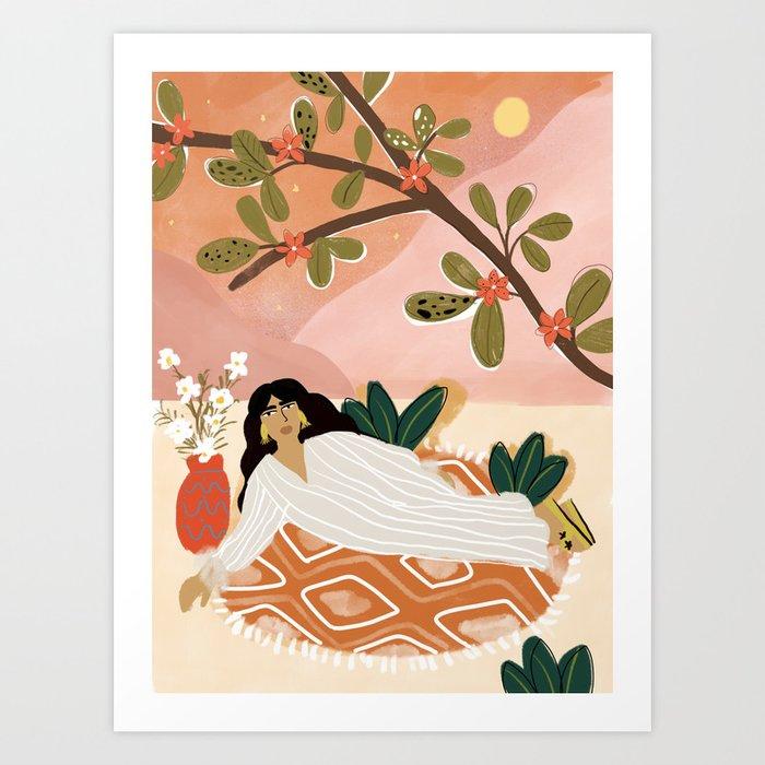 Laying under the full moon Art Print