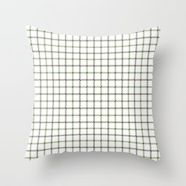 Fern Green & Sludge Grey Tattersall on White Background Throw Pillow
