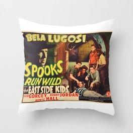 Spooks Run Wild, Bela Lugosi, vintage movie poster Throw Pillow