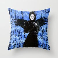 edgar allan poe Throw Pillows featuring Nevermore - Edgar Allan Poe by Danielle Tanimura