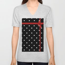 Polka Dot Ribbon Unisex V-Neck