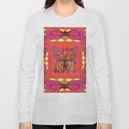 ABSTRACT MONARCH BUTTERFLY IN PINK-YELLOW Long Sleeve T-shirt