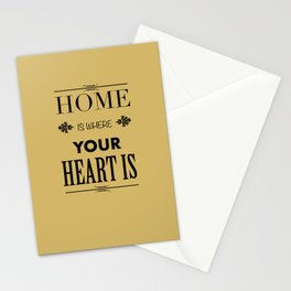 Home is Where - Typography brown Stationery Cards