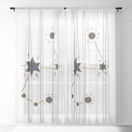 Golden constellation Sheer Curtain