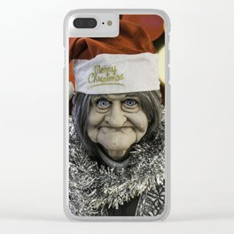 Christmas Grandma Bokeh Clear iPhone Case