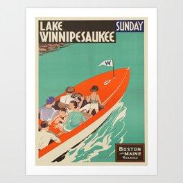 Vintage poster - Lake Winnipesaukee Art Print