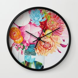 Flowers in a vase - Watercolour painting Wall Clock