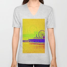 Yellow Pop Art Santa Monica Pier Unisex V-Neck