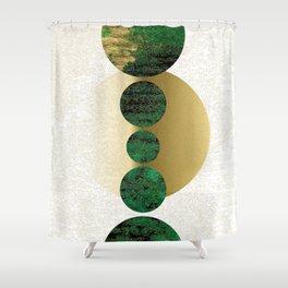 Green Balanced Galaxy Shower Curtain