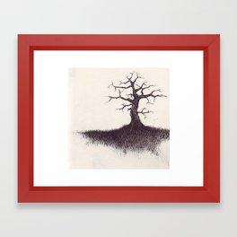 tree on the hill Framed Art Print