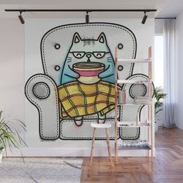 cute and funny cat Wall Mural