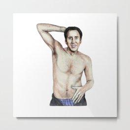 Nicolas Nippleess Cage | Funny Meme | Nic Cage Face Shirt | Gift For Men, Womanl Metal Print