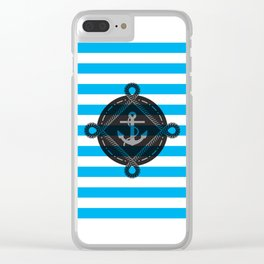 Nautica Blue Stripes Clear iPhone Case