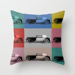 French classic car pop art Throw Pillow