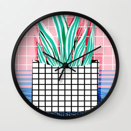 Glam - pop art memphis neon house plants throwback retro 80s style cool brooklyn style minimalism Wall Clock