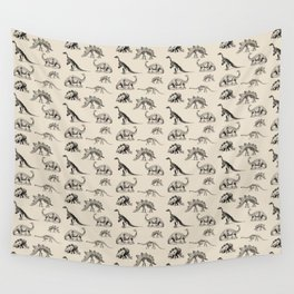 Museum Animals | Dinosaur Skeletons on Cream Wall Tapestry