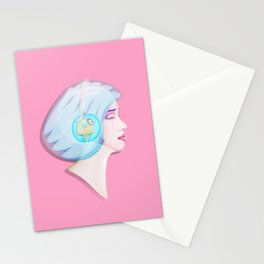 Time Bunny Girl Stationery Cards