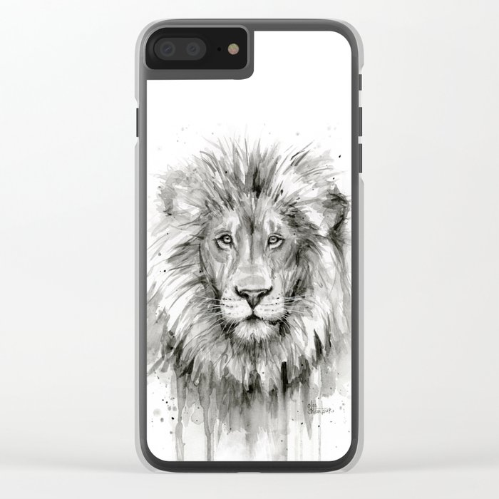 Lion Watercolor Animal Clear iPhone Case