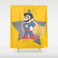 mario Shower Curtains featuring Super Mario by tshirtsz