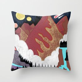 Mountains in space Throw Pillow