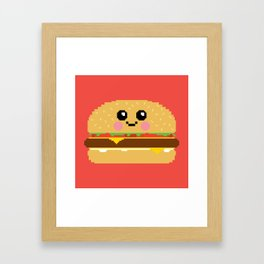 Happy Pixel Hamburger Framed Art Print