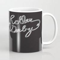 roller derby Mugs featuring Roller Derby Cassette Tape by LucyDynamite