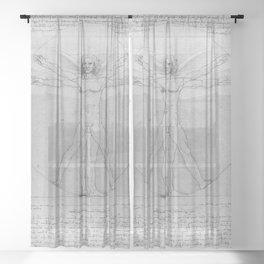 Leonardo da Vinci Vitruvian Man with Wings Study of Angels Sheer Curtain