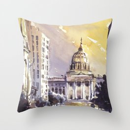 Watercolor painting of Pennsylvania State Capitol building at sunset- Harrisburg (USA). Throw Pillow