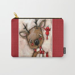Red Bird and Reindeer - Christmas Holiday Art Carry-All Pouch
