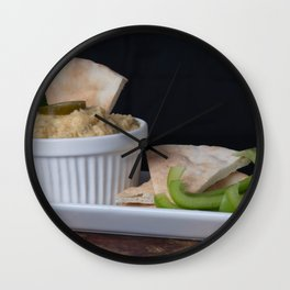 Hummus Pita Bread and Green Sweet Bell Peppers Wall Clock