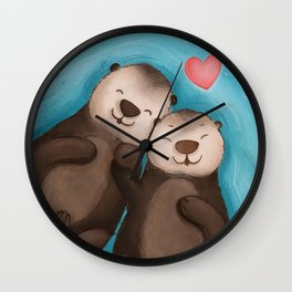 Otterly in Love Wall Clock