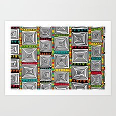Tribal Squares black Art Print