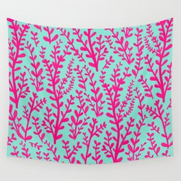 Blue and Purple Pink Floral Gouache Pattern Wall Tapestry