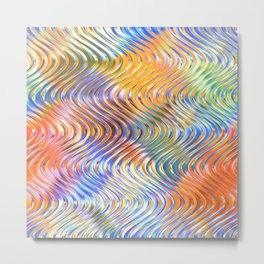 Artistic Stylish Colorful Faux Embossed 3D Waves Pattern Metal Print