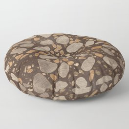 Terrazzo - Mosaic - Wooden texture and gold #3 Floor Pillow
