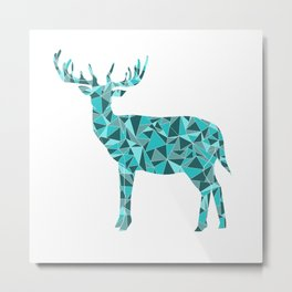 Stag - King of the Forest Geometric Digital Print Teal Metal Print