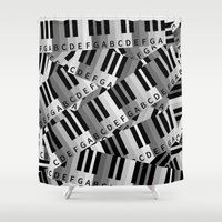 piano Shower Curtains featuring Piano Keys by mailboxdisco