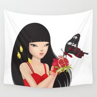 ruby Wall Tapestries featuring Ruby by Anne  Martwijit